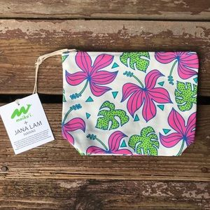 JANA LAM Hawaii Monstera Hibiscus Zip Pouch